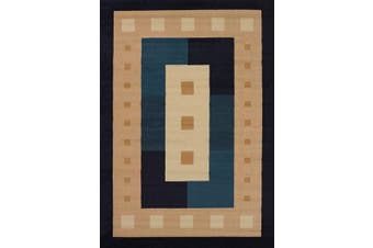 (0.3m x 0.9m, Navy) - United Weavers of America Manhattan Collection Time Square Indoor Rug - 0.3m x 0.9m Navy, Contemporary Style Rug with Geometric Pattern, Jute Backing