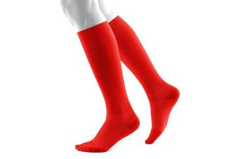 (Small/Long, Red) - Bauerfeind Sports Run and Walk Unisex Compression Socks