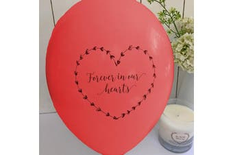 25 Red 'Forever In Our Hearts' Funeral Remembrance Balloons - 100% Biodegradable - by Angel & Dove