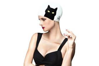 (Cat Cute) - BALNEAIRE Silicone Swim Cap for Women Long Hair Waterproof UV Blocked Cat Print Black and White