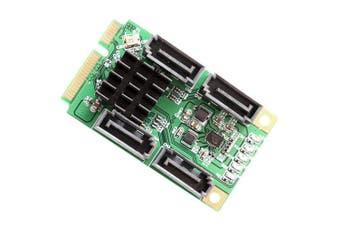 IOCrest 4 Port SATA 6.0 Gbps III Mini PCI-Express Host Controller Card - Green