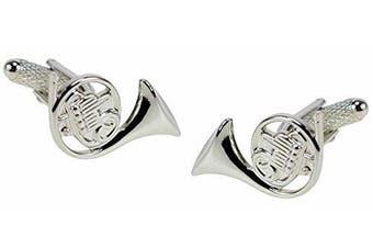 French Horn Cufflinks - silver finish