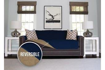 (Sofa, Navy/Sand) - The Original SOFA SHIELD Reversible Furniture Protector, Features Elastic Strap (Sofa: Navy/Sand)