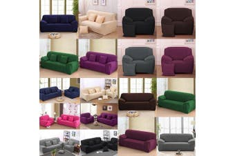 (Sofa Length: 230cm  - 300cm , Black) - Stretch Seat Chair Covers Couch Slipcover Sofa Loveseat Cover 9 Colours/4 Size Available for 1 2 3 4 Four People Sofa + Pillowcase (230cm - 300cm /4 Seater, Black)