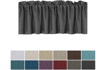 (1, Charcoal Gray) - H.VERSAILTEX Thermal Insulated Rich Linen Curtain Valance for Living Room/Kitchen/Bedroom, Primitive Linen Valances Rod Pocket Matches with Panels - 130cm x 46cm , 1 Panel, Charcoal Grey