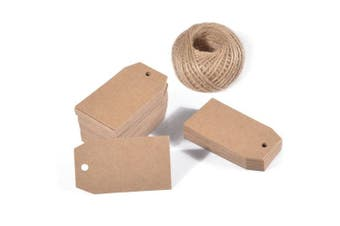 (Brown) - 100 PCS 6.9cm x 3.8cm Kraft Paper Gift Tags Blank Hang Tags with 30m Jute Twine for Christmas Party Decorations and DIY Crafts (Brown)