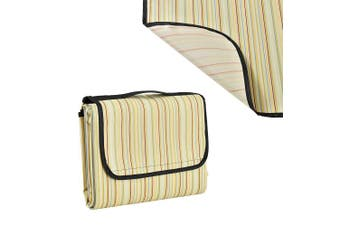 (Yellow striped - 200x190cm) - [casa.pro]® Large waterproof picnic blanket tote - with faux leather handle - 200x190cm - yellow striped