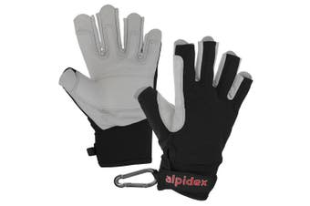 (Wild Black, Large) - ALPIDEX Climbing glove half finger unisex real leather