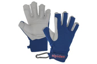 (Wild Blue, Small) - ALPIDEX Climbing glove half finger unisex real leather
