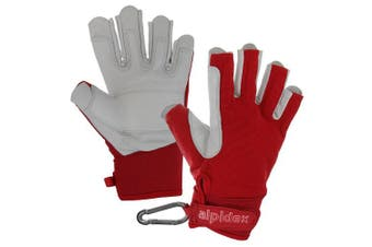 (Wild Red, X-Large) - ALPIDEX Climbing glove half finger unisex real leather
