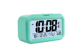 (Blue) - Peakeep Battery Digital Alarm Clock with 2 Alarms, Snooze, Optional Weekday Alarm and Sensor Light (Mint Green)