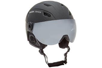 (Small, Black - carbon schwarz) - Black Crevice Adults Ski Helmet with Visor