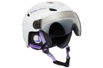 (Large, White - weiß/Violett) - Black Crevice Adults Ski Helmet with Visor
