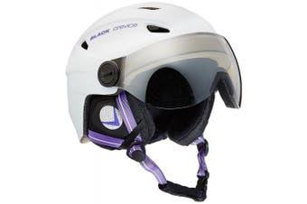 (Small, White - weiß/Violett) - Black Crevice Adults Ski Helmet with Visor
