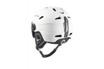 (Large, White - White / black) - Black Crevice Adults Ski Helmet with Visor