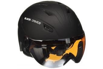 (Large, Black - black/white) - Black Crevice Adults Ski Helmet with Visor