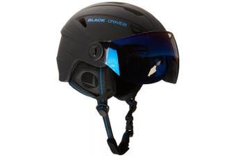 (X-Small, Black - black / blue) - Black Crevice Adults Ski Helmet with Visor