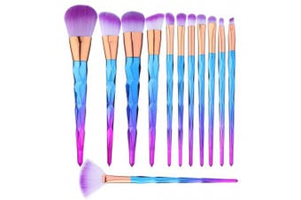 (Purple) - 12 Pcs Makeup Brushes Set Premium Foundation Blending Blush Concealer Eye Face Lip Brushes for Powder Liquid Cream Complete Makeup Brushes Kit Synthetic Bristles