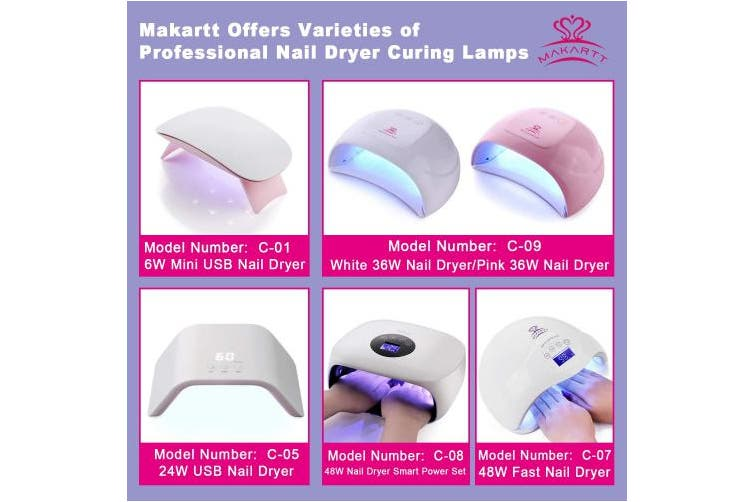 (48W Fast UV LED Nail Lamp) - MAKARTT 48W Fast Dry UV LED Nail Lamp with 3 Timer Setting Gel Nail Polish Dryer for Both Hands and Feet Nail Art UV Light Professional for Salon or Nail Lovers C-07