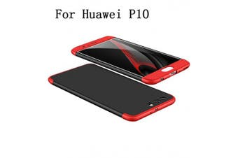 (Black & Red) - Huawei P10 Case 360 Degree Protection 3 in 1 Slim Cover Adamark Shockproof Shell Full Body Coverage Protection Protective Case For Huawei P10 (without Tempered Glass Film Protector)