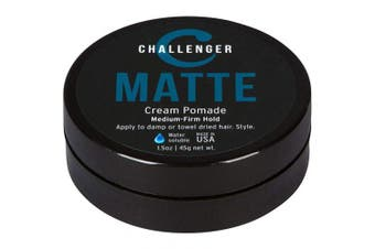 (45ml) - Matte Cream Pomade - Challenger 45ml Medium Firm Hold - Water Based, Clean & Subtle Scent. Best Hair Styling Cream, Wax, Fibre, Clay, Paste All In One