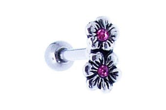 Small Double Flower Silver Helix Bar - 1.2mm x 8mm