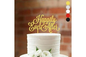 (width 13cm , Gold) - Cake topper Happily Ever After Wedding cake toppers for wedding Cake Decorations HappyPlywood (width 13cm , gold)