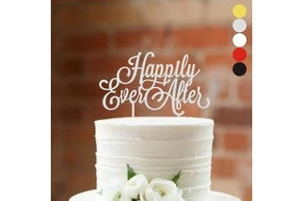 (width 18cm , Silver) - Cake topper Happily Ever After Wedding cake toppers for wedding Cake Decorations HappyPlywood (width 18cm , silver)