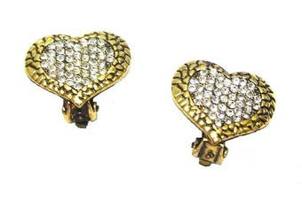 Ladies Gold Antique Love Heart Earrings Diamante Crystal Clip on for Women Girls