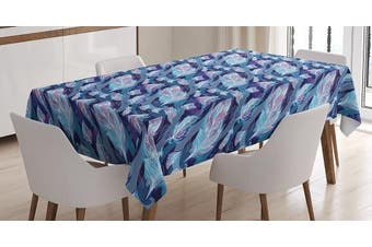 (130cm  W By 180cm  L, Multi 3) - Indigo Tablecloth by Ambesonne, Paisley Design with Feathers and Wavy Floral Decor Print, Dining Room Kitchen Rectangular Table Cover, 52 W X 70 L Inches, Light Blue Purple Navy Blue and White