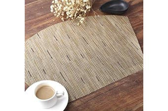 (4, Tan) - SHACOS Round Table Placemats Set of 4 Wedge Placemats Heat Resistant Round Table Mats Wipe Clean (4, Bamboo Tan)