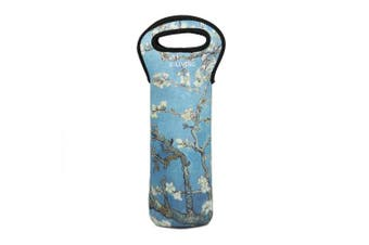 (2, Almond Blossom) - E-Living Neoprene 3-in-1 One Bottle Wine Tote for Champagne / Wine / Beer Bottles - 3 Designs with Van Gogh / Monet Oil Painting Masterpieces (2, Almond Blossom)