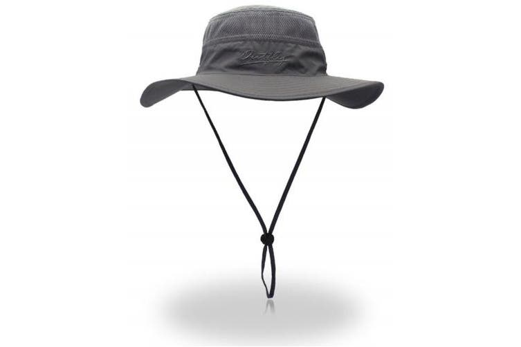 (56-61cm, Dark Grey) - YOYEAH Windproof Fishing Hats UPF 50+ Wide Brim Sun Protection Hat Outdoor Mesh Fishing Hat 56-61cm