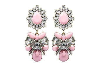 Adorning Ava Statement Oversize Pink Chandelier Jewel Drop Earrings