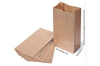 (6x 2.13cm  x 30cm  1.6kg) - 10 Brown Paper Bags - Kraft Brown Bags- Kraft Block Bottom Paper Bags - Eco Friendly & Heavy Duty SOS Bags - Great for Party Favour Loot Lunch Deli Grocery Gift Bags Sabco