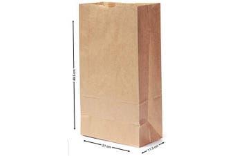 (8 x 11cm  x 48cm  (6.4kg)) - Brown Paper Bag x 30, Kraft Bags, Brown Bags, Paper Food Bags - Eco Friendly Block Bottom Paper Bag Heavy Duty - Party Loot Lunch Deli Gift 7 Sizes by Sabco (8 x 11cm x 48cm (6.4kg))