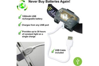 Usb Rechargeable Led Head Torch - Super Bright, Waterproof, Lightweight & Comfor