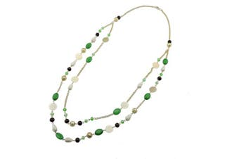 (green) - BOCAR Link Chain 2 Layer Crystal Wood Acrylic Women Party Long Necklace Gift