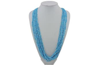 (blue) - BOCAR Long Multiple Row Handmade Beaded 80cm Necklace for Women with Gift Box