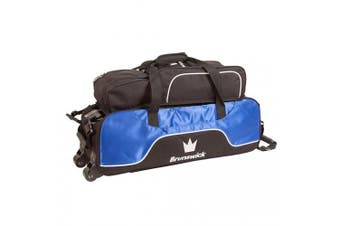 (Royal) - Brunswick Crown Triple Tote With Pouch Bowling Bag - Royal