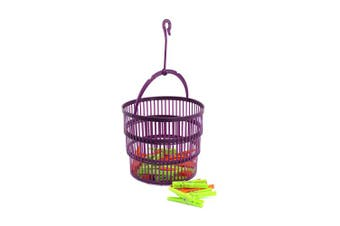 (26-piece Set - Basket + Brackets) - com-four® clothes peg basket with practical hanger, 25 clips in green and orange (026-piece set - basket + brackets)