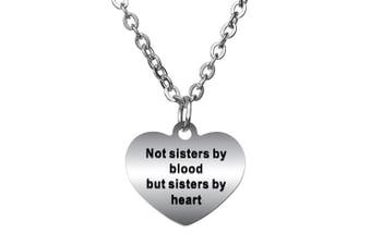 BESPMOSP Not Sisters By Blood But Sisters By Heart Pendant Necklace Best Friend Jewellery