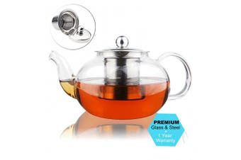 (800 ml) - AckMond 800 ml Clear Glass Teapot with Stainless Steel Infuser & Lid, Borosilicate Glass Tea Pots