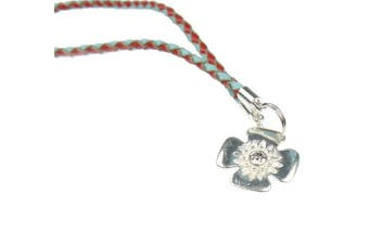 (Red & Blue Braided) - Beads R Us ® - Real Leather Clip & Clasp Opener - For snap clasps and Clips on Pandora, Biagi, Troll, and all European charm bracelets, with Genuine Sterling Silver Flower
