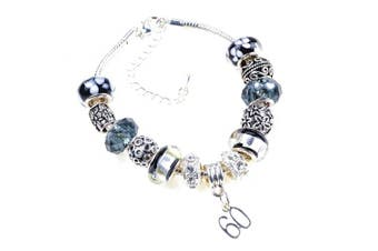 60th Birthday Black and Silver Murano Charm Bracelet Pandora Style with Gift Box and Complimentary Gift Card.
