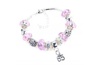 65th Birthday Pink Garland Themed Murano Charm Bracelet