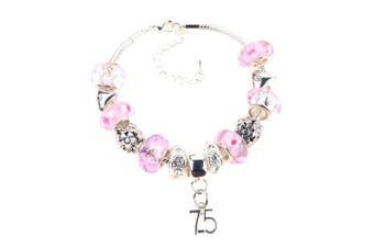 75th Birthday Pink Garland Themed Murano Charm Bracelet