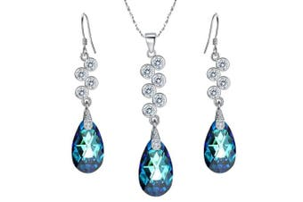 (Bermuda Blue) - Clearine Women's 925 Sterling Silver Teardrop Cluster Pendant Necklace Hook Dangle Earrings Set Adorned with Crystals