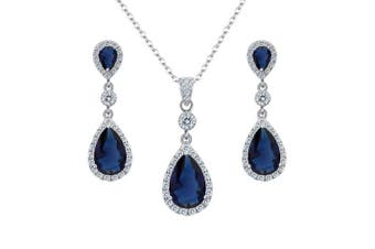(Sapphire Color) - Clearine Women's 925 Sterling Silver Wedding Bridal Cubic Zirconia Infinity Teardrop Pendant Necklace Dangle Earrings Set