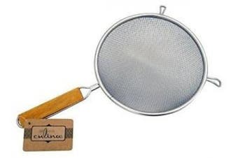 Culina 20cm Double Mesh Strainer, Stainless Steel, Wooden Handle